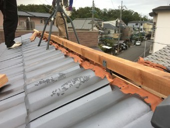 棟への防災瓦葺き