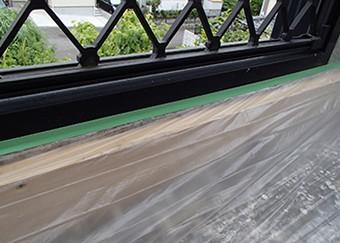 立ち上がり部(床と外壁の境目)もウレタン防水を行います