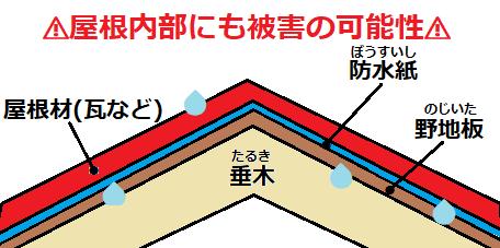屋根内部 雨漏り被害