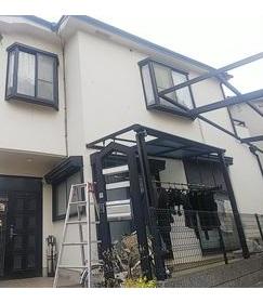 熊本市中央区にて台風で飛散した棟板金とテラス屋根の現地調査