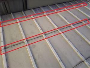 鋼板屋根 浮上り箇所コーキング
