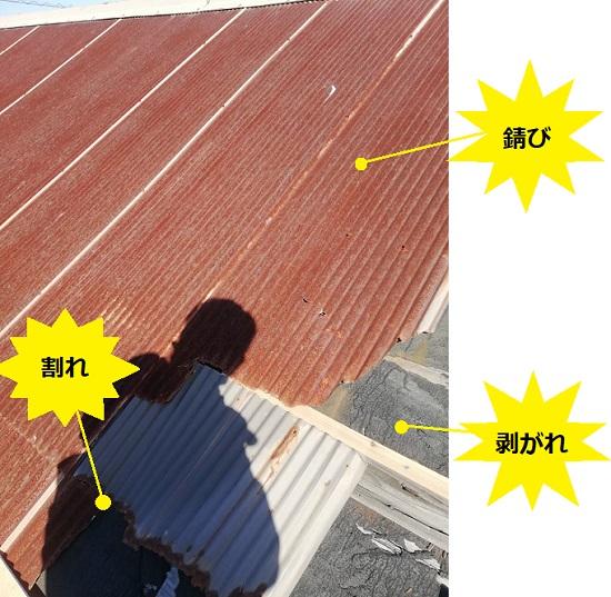 倉庫のトタン屋根 錆び 剥がれ 割れ