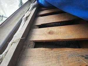 瓦屋根撤去 野地板の状態