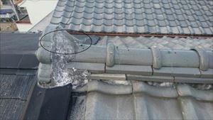 現地調査 屋根取合部分鬼瓦 漆喰劣化