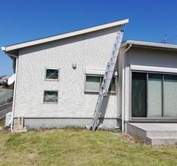 菊池郡大津町で台風被害で破風板が破損し現地調査を行いました