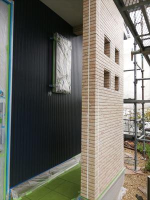 玄関周り 養生 塗装