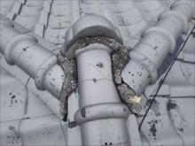 雨漏れ現地調査 棟 漆喰劣化状況