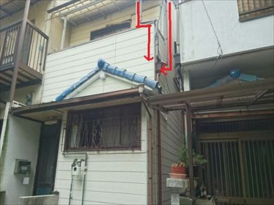 雨漏り現地調査 大屋根~ベランダ屋根オーバーフロー