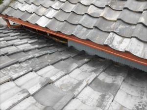 屋根取り合い部分 板金貼付