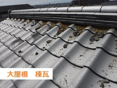 大屋根棟瓦 漆喰メクリ