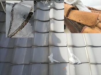 瓦屋根 劣化症状 ひび割れ・欠け・浮き