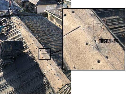 大棟 取り直し工事 結束銅線で固定