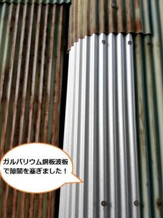 ガルバリウム鋼板波板 トタン倉庫の補修