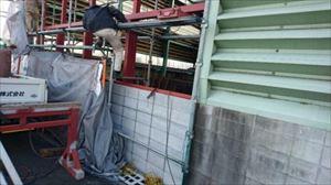 工場 腰ブロック組積 鉄骨下地