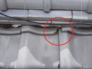 雨漏れの原因箇所 瓦の欠け