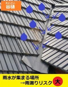 谷樋 雨漏りリスク大 雨漏り修理 熊本
