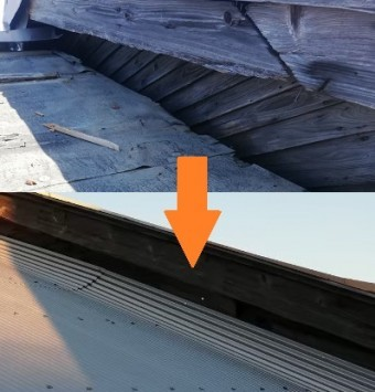 屋根の立ち上がり部 ガルバリウム鋼板で補修