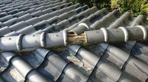 大屋根 棟瓦破損状態