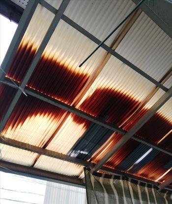テラス波板屋根 張替え工事前