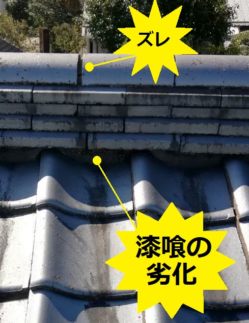 セメント瓦 漆喰劣化 ズレ