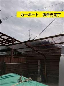カーポート屋根 波板全面張替工事完了