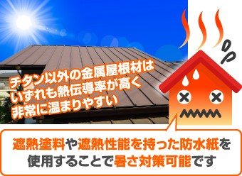 チタン以外の屋根材は熱伝導率が高く非常に温まりやすい